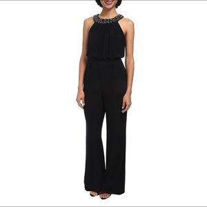 Vince Camuto Black Jumpsuit Jeweled Collar Size XS